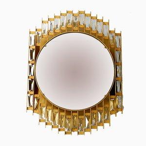 Hinterleuchteter Spiegel mit goldenem Rahmen aus Metall & Kristallglas von Hillebrand Lighting, 1960er