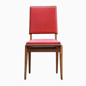 Französische Mid-Century Stühle aus Holz & Vinyl, 6er Set
