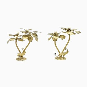 Brass Palm Tree Table Lamps with Deer, 1970s, Set of 2