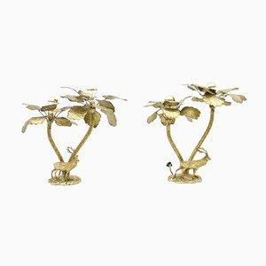 Lámparas de mesa en forma de palmera con ciervo de latón, años 70. Juego de 2