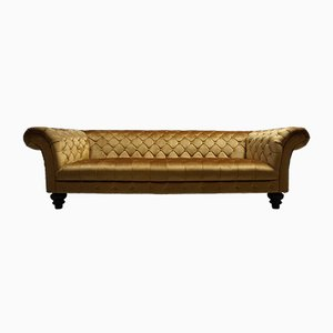 Mid-Century Gold Velvet Chesterfield Sofa, 1960s