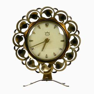 Horloge de Table Mid-Century en Laiton, 1950s