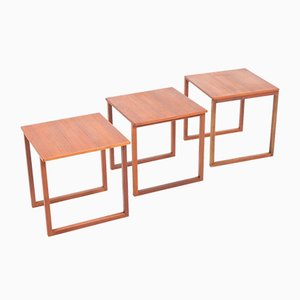 Vintage Danish Teak Nesting Tables by Kai Kristiansen for Vildbjerg Møbelfabrik