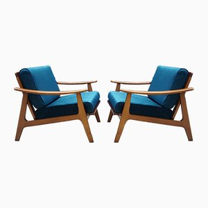 Mid-Century Teal Velvet Easy Chairs, 1960s, Set of 2