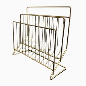 Vintage Brass Magazine Rack, 1950s