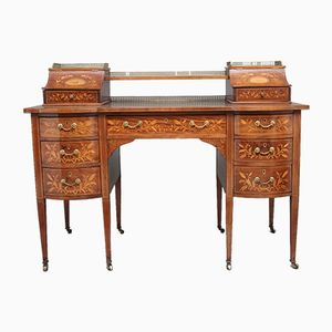 19th-Century Inlaid Mahogany Desk, 1890s