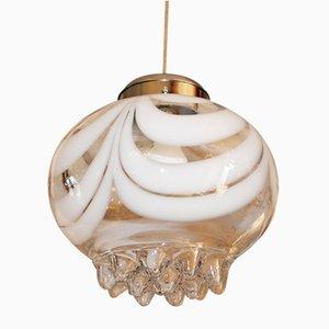 Lampada da soffitto vintage in vetro di Murano di Mazzega