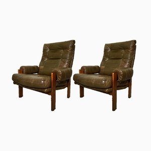 Vintage Swedish Patchwork Green Leather Lounge Chairs from OPE, Set of 2