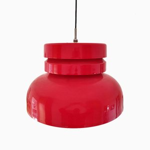 Lampe à Suspension Mid-Century Rouge, 1960s