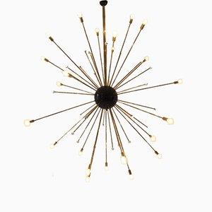 Lámpara de techo Sputnik vintage grande dorada
