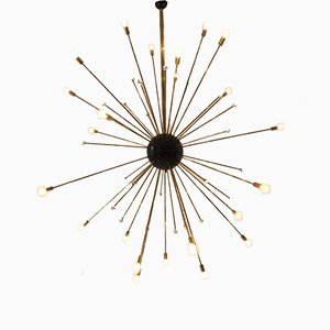 Large Vintage Golden Sputnik Ceiling Lamp
