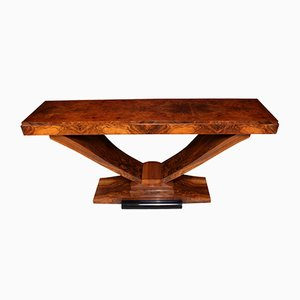 Italian Art Deco Walnut Console Table, 1930s