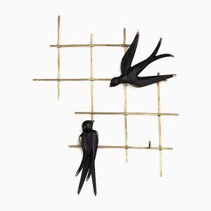 Schlüsselhalter mit Vögeln von Walter Bosse für Hertha Beller, 1950er