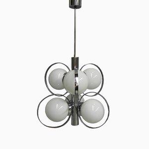 Lampada da soffitto vintage a sei luci in vetro e metallo cromato, anni '70