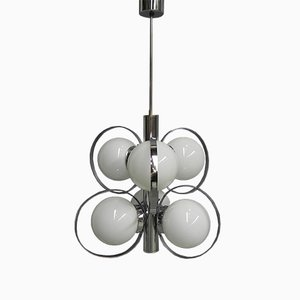 Lámpara de techo vintage de vidrio y metal cromado con seis luces, años 70