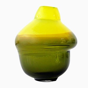 Yellow & Olive Green Volcano Vase by Alissa Volchkova