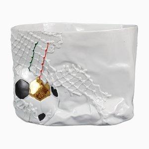 Jarrón conmemorativo de la copa del mundo de fútbol de porcelana blanca de Consorzio Ceramisti Faenza, 1990