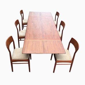 Ausziehbarer Esstisch & Stühle von Johannes Andersen für Uldum Møbelfabrik, 1960er
