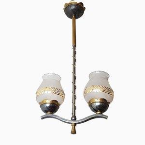 Lampadario Mid-Century in acciaio, ottone e vetro, anni '50