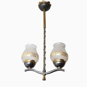 Mid-Century French Steel, Brass & Glass Chandelier, 1950s