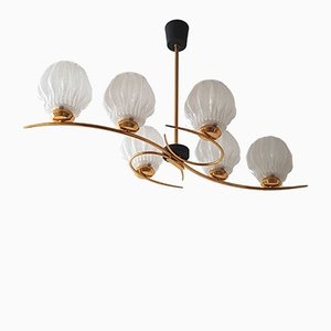 Mid-Century French Brass, Steel and Frosted Glass Chandelier