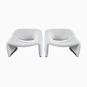 Dutch Woolen Groovy Chairs by Pierre Paulin for Artifort, 1970s, Set of 2