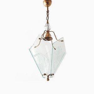 Lámpara colgante francesa Mid-Century de vidrio y latón, años 50