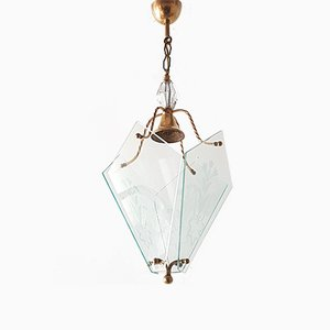 Mid-Century French Brass & Glass Pendant Light, 1950s