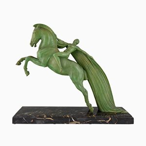 Art Deco Female Nude on a Rearing Horse Sculpture by Charles Charles, 1930s