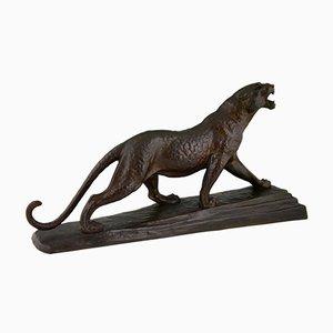 Escultura de pantera Art Déco de bronce de Louis Albert Carvin France, años 30