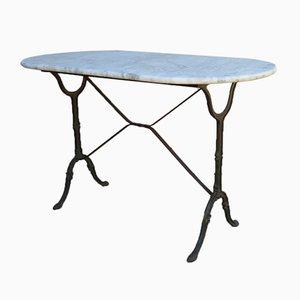 Französischer Gartentisch aus Gusseisen & Marmor, 1920er