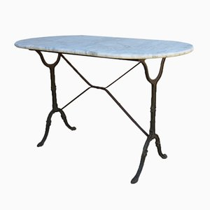 French Cast Iron & Marble Garden Table, 1920s
