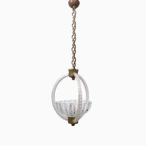 Lámpara colgante vintage de latón y vidrio soplado de Ercole Barovier, años 40