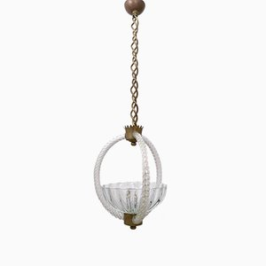 Vintage Brass & Blown Glass Pendant by Ercole Barovier, 1940s