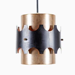 Dänische Mid-Century Hängelampe aus Messing & Metall von Werner Schou für Coronell