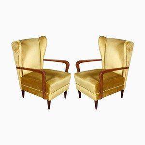 Goldene italienische Samtsessel mit hohen Rückenlehnen von Gio Ponti, 1930er, 2er Set