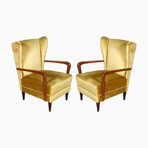 Italian High Back Golden Velvet Lounge Chairs by Gio Ponti, 1930s, Set of 2