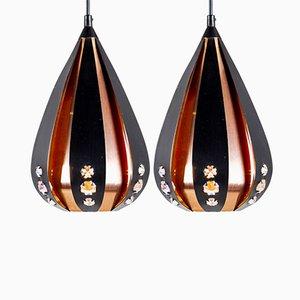 Lampade in rame e metallo nero di Werner Schou per Coronell Elektro, anni '60, set di 2