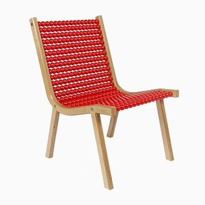 o432 Lounge Chair with Red Lacquered Spheres by Jean-Frédéric Fesseler