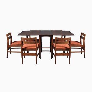 Mesa de comedor extensible Mid-Century y seis sillas, años 60