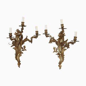 Antike goldene Wandleuchten aus Bronze, 2er Set