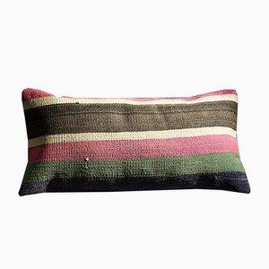 Cuscino lombare Kilim a strisce rosa, verde, marrone e bianco di Zencef, 2014
