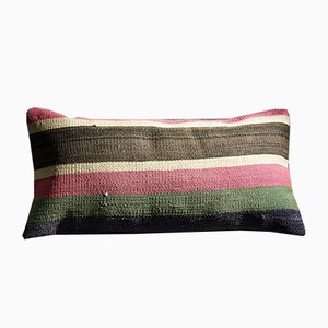 Pink-Green-Brown-White Striped Lumbar Kilim Pillow by Zencef, 2014