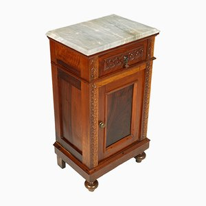 19th Century Neapolitan Walnut and Marble Nightstand