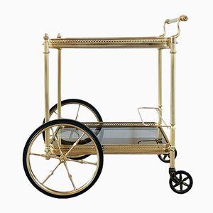 Mid-Century Servierwagen aus Messing & Rauchglas