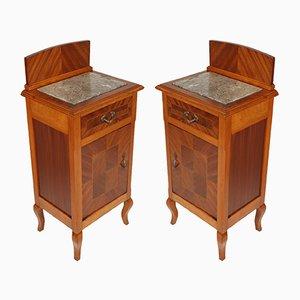 Antike Nachtkästchen aus Mahagoni & Nussholz mit Intarsien, 2er Set