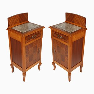 Antique Mahogany & Walnut Inlaid Nightstands, Set of 2