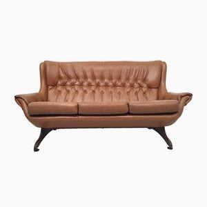 Braunes Vintage Sofa aus Kunstleder, 1960er