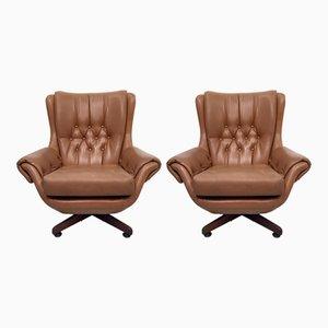 Braune Vintage Sessel aus Kunstleder, 2er Set