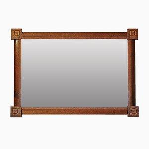 Specchio a muro Art Déco con cornice in acero intarsiato, anni '30